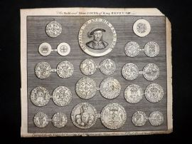 Universal Magazine 1748 Antique Print. Gold and Silver Coins of King Henry VIII
